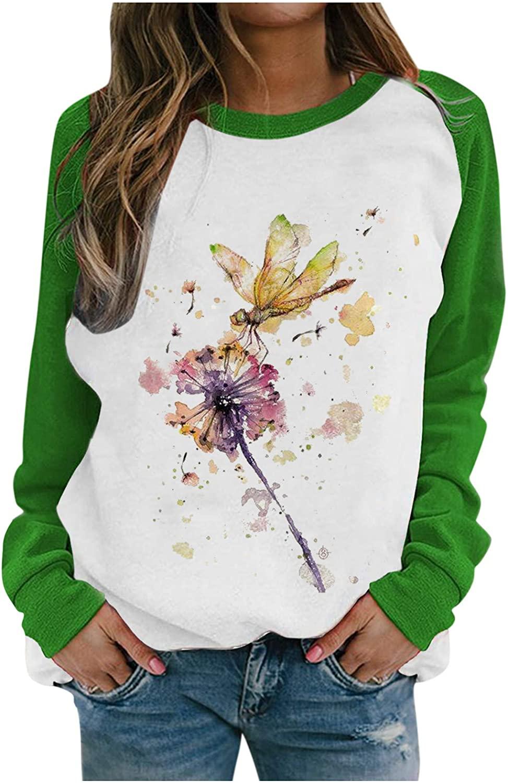 여성용 드래곤플라이 프린트 캐주얼 탑스 스웨트셔츠 크루넥과 긴소매 티셔츠 풀오버