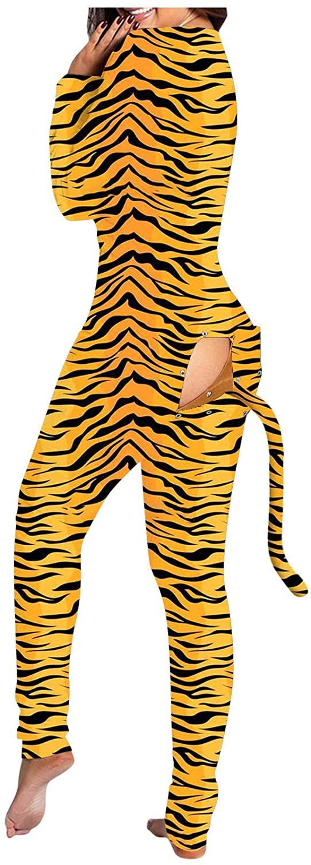 여성 섹시한 버튼 다운 전면 기능 버튼 플랩 점프 수트 수영복 수영복 장난 꾸러기 호랑이 패턴 잠옷을위한 잠옷