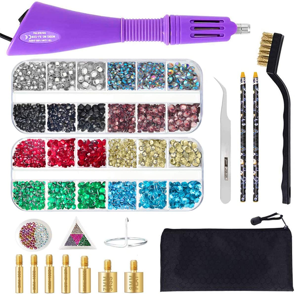 HOTFIX APPLICATOR TOOL BEDAZZLER KIT DIY HOT FIX RHINESTONES INCLUDE 7 TIPS SUPPORT STAND TWEEZERS CLEANING BRUSH WAX PENCILS AND 2400 RHINESTONE
