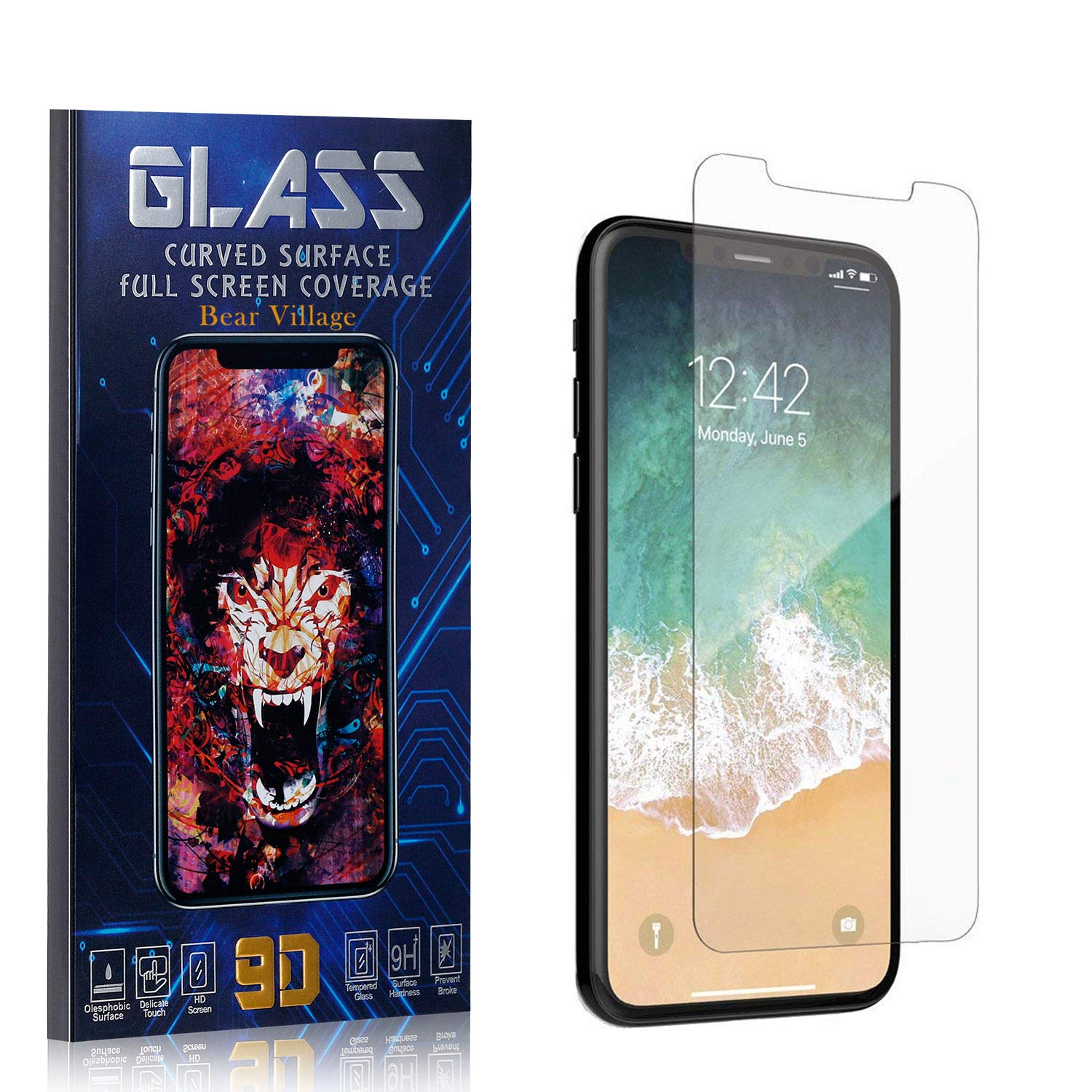 TEMPERED GLASS SCREEN PROTECTOR FOR IPHONE 11 PRO BEAR VILLAGE HD CRYSTAL CLEAR SCREEN PROTECTOR FILM FOR IPHONE 11 PRO BUBBLE FREE 9H HARDNESS 4 PACK