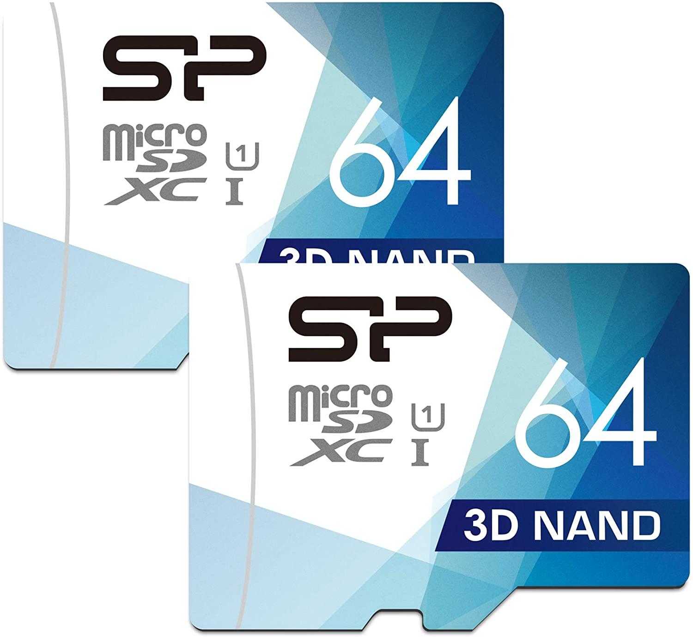어댑터가 있는 실리콘 파워 64GB 2팩 3D NAND 고속 마이크로SD 카드