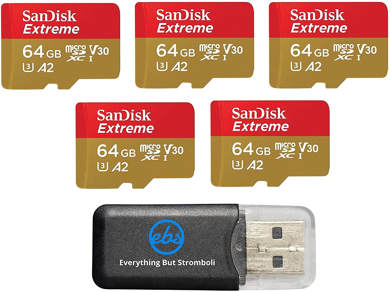 SANDISK EXTREME 64GB (5 PACK) MICROSD MEMORY CARD FOR DJI MAVIC MINI 2 MAVIC MINI MAVIC AIR 2 DRONE - C10 A2 V30 SDXC (SDSQXA2-064G-GN6MN) BUNDLE (1) EVERYTHING BUT STROMBOLI MICRO CARD READER