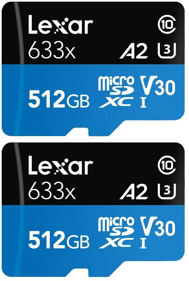 LEXAR LSDMI512BBNL633A HIGH-PERFORMANCE 633X MICROSDHC   MICROSDXC UHS-I 512GB MEMORY CARD 2 PACK