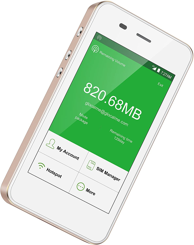 GLOCALME G3 4G LTE 모바일 핫스팟 미국 8GB 및 글로벌 1GB 데이터와 전 세계 고속 WIFI 핫스팟 아니 SIM 카드 로밍 충전 국제 포켓 와이파이 핫스팟 MIFI 장치 (골드)