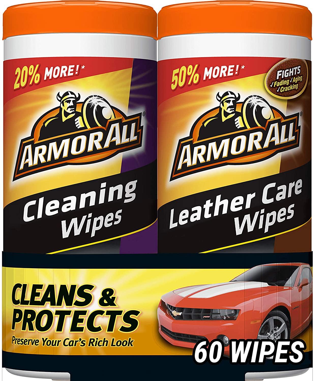 갑옷 모든 자동차 청소 및 가죽 물티슈-자동차 및 트럭 및 오토바이 용 인테리어 클리너 30 카운트(2 팩) 18781