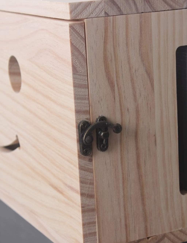 FXBFAG 와이파이 라우터 숨 주최자 단단한 나무 네트워크 세트 정상 상자 잘 고정된 라우터 저장 상자 TV 낮은 행 소켓 폐색 상자에 무선 라우터 선반