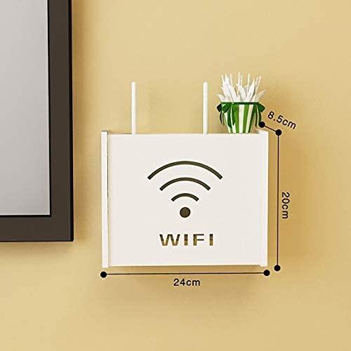 KDRICH WIFI 라우터가자는 다기능 선반 무선 PVC 벽 선반에 걸려 플러그 앤드 브라켓 저장 상자 궤 미소를 고양이(색상:무료 WIFI)