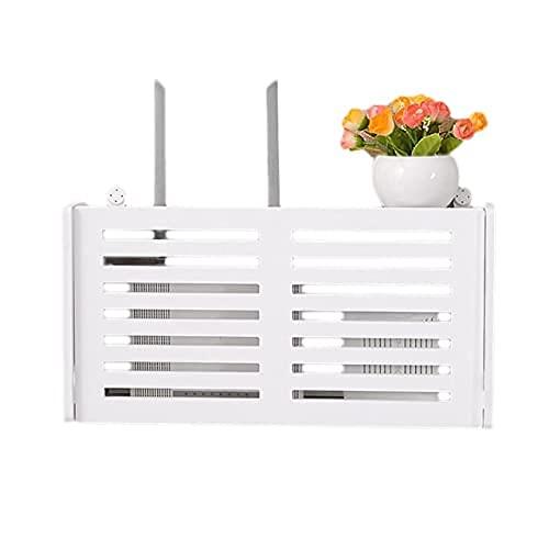 KDRICH AFBC 무선 와이파이 라우터 스토리지 박스 나무 플라스틱 선반 벽 교수형 브래킷 케이블 스토리지 홈 장식(색상:L | B)