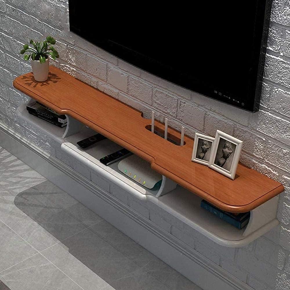 FXBFAG 부동 선반 벽걸이 TV 캐비닛 무선 라우터에 고정되는 최고 상자 TV REMOTE CONTROL 저장 선반 벽 선반 전시 선반 흰색 140CM(크기:갈색 140CM)