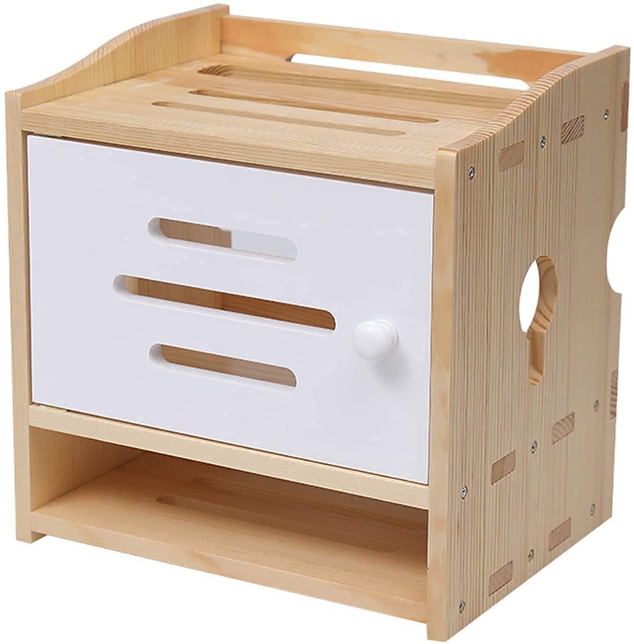FXBFAG 부동 선반 선반 라우터 잘 고정된 라우터 저장에 주최자이자 케이블로 저장 상자 뜨 TV 셋톱 박스 선반 모뎀 케이블 박스 케이블 깔끔한자 나무 목재(색상:백색)
