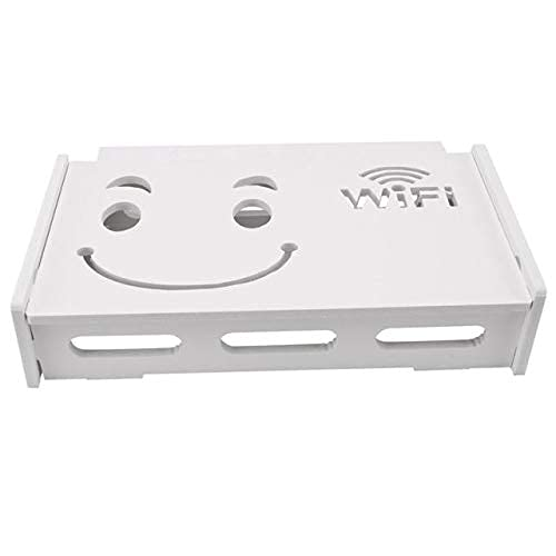 KDRICH 무선 WIFI 라우터가 저장 상자 나무 플라스틱 선반 벽걸이 브라켓 케이블 스토리지 가정 장식 승진-(사이즈:24X20X8.5CM 색상:백색)(색상:24X20X8.5CM | WHITE)
