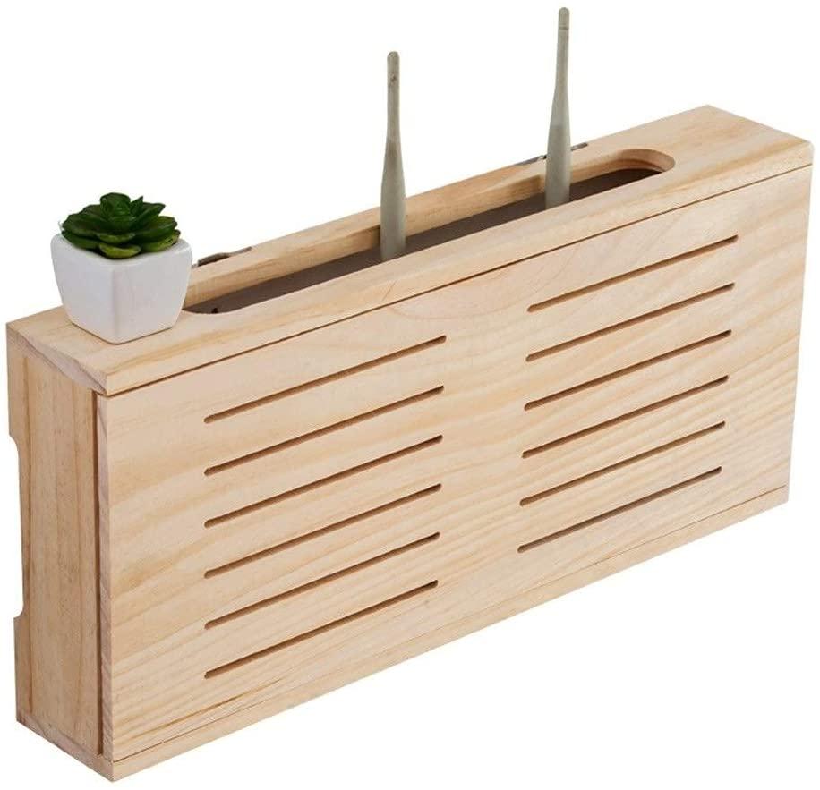 FXBFAG 저장 상자동 선반에 단단한 나무 벽 마운트 세트 정상 상자는 무선 라우터에 저장 상자 패치 패널은 전기 상자 장식적인 보호자(색상:노란색 크기:49822CM)