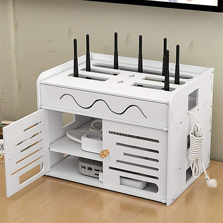 FXBFAG WIFI 저장 상자 라우터 구성을 상자에 고정되는 최고 상자 랙 패치 패널 저장 선반 숨 코드 관리 컨테이너 저장 상자를 위한 데스크톱