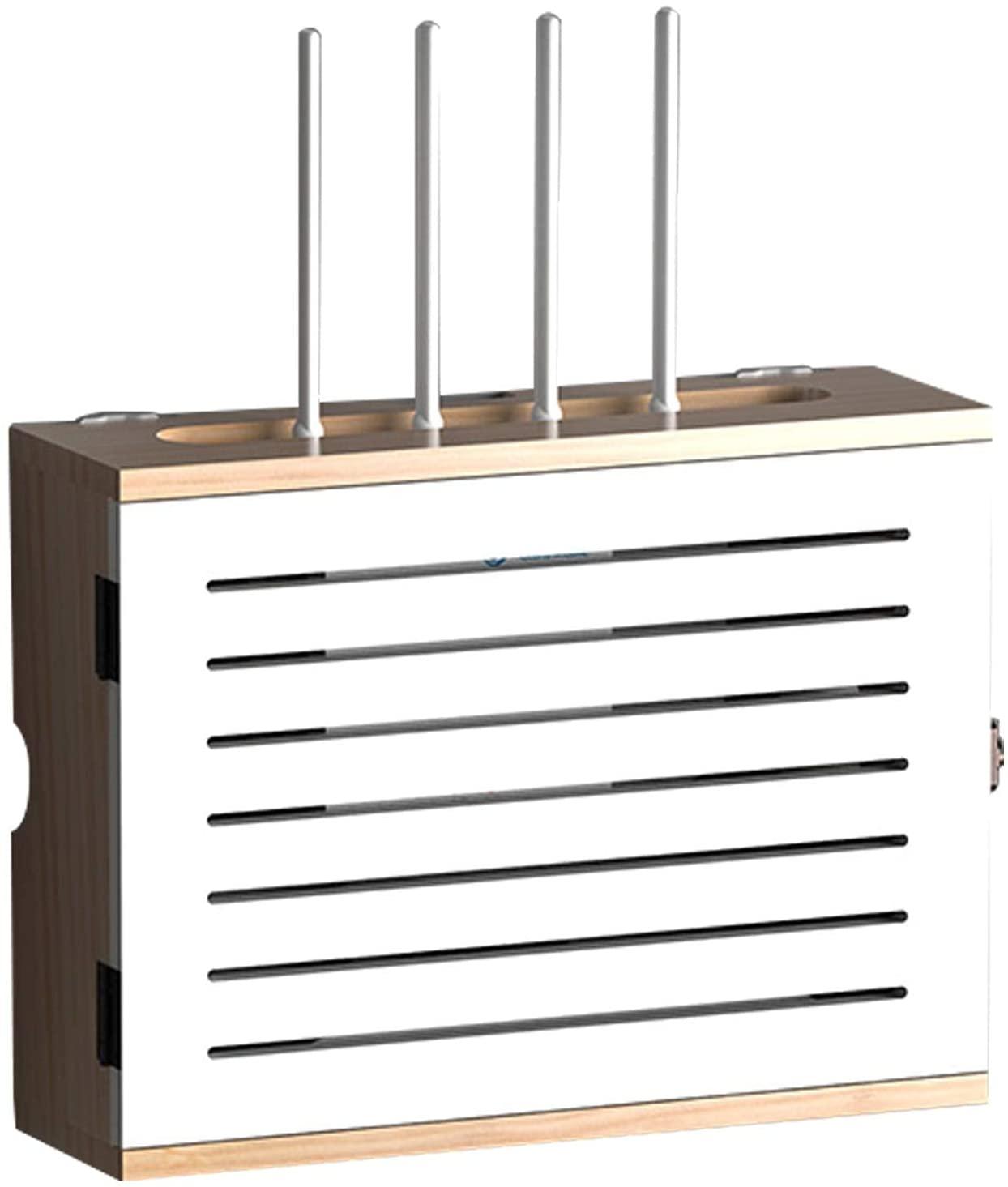 FXBFAG 와이파이 라우터 저장 상자 벽 선반 솔리드 나무 전원 공급 장치 빛을 고양이 플러그 행 허브 보드를 끝내 데스크탑 스토리지 상자 거실에서 사용된 | 사무실 | 침실-(42.5 10 32.5CM)