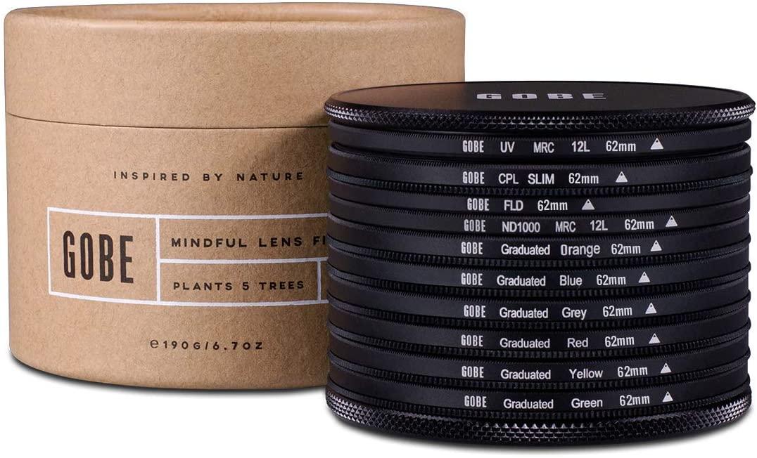 고베 62MM UV 원형 편광 FLD ND1000 + 졸업 오렌지 블루 그레이 레드 옐로우 그린 렌즈 필터 키트 (1PEAK)