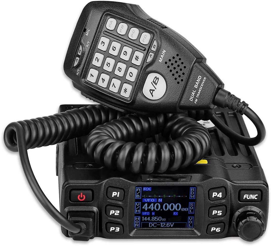 LKW 자동차 RT95 듀얼-세그먼트 색깔 스크린 자동차 수신기 144-148MHZ 430-440MHZ(블랙)