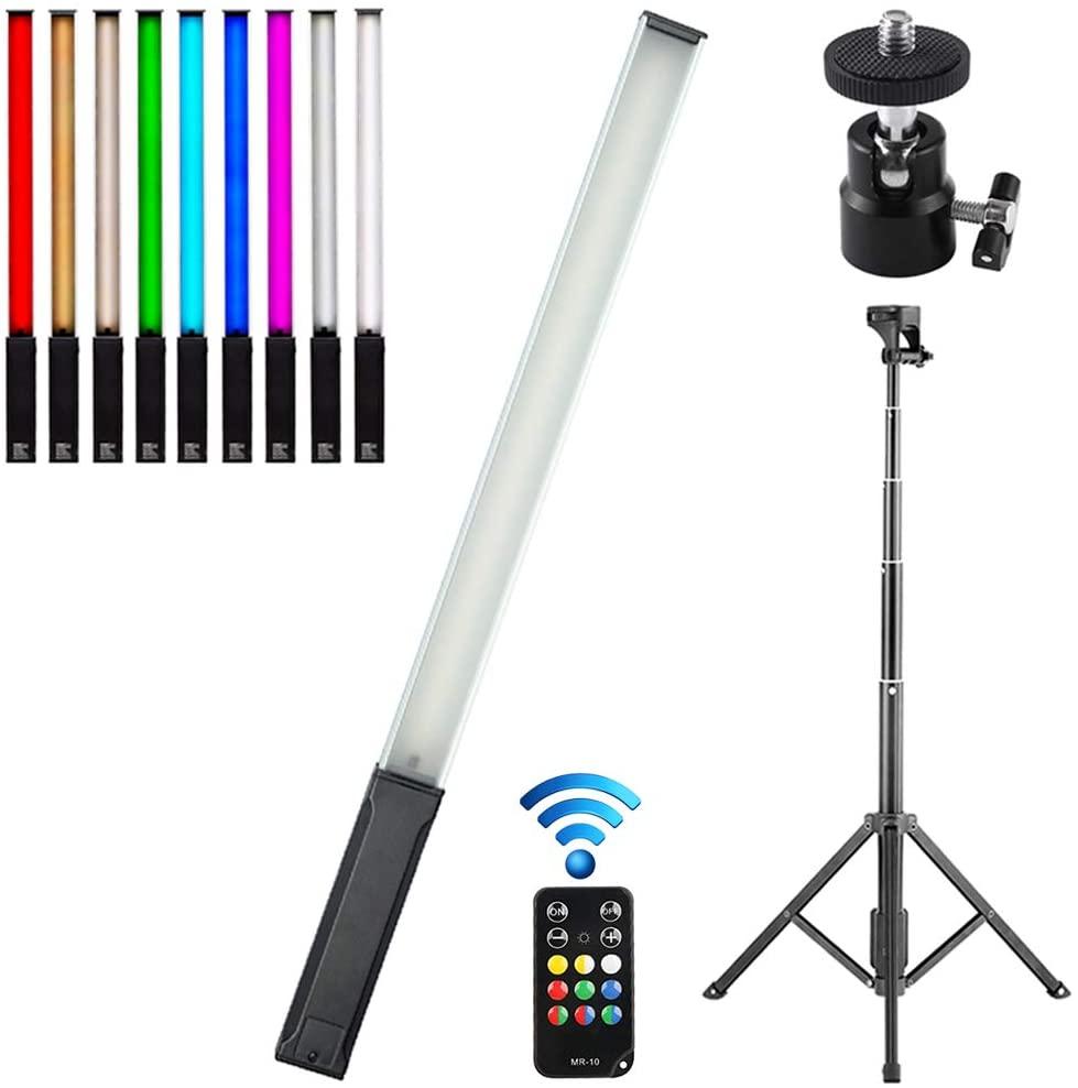 FOTOBETTER 핸드헬드 RGB LED 비디오 라이트 지팡이 스탠드 리모컨 휴대용 9 색 사진 조명 핫 슈 볼헤드 USB 충전식 1000 루멘 12 밝기 레벨 3200K-5600K