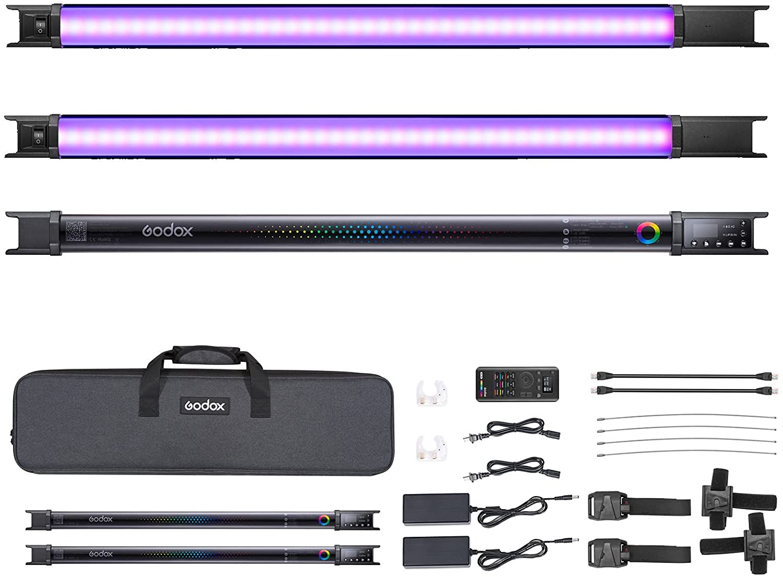 고독스 TL60 RGB 튜브 라이트 CRI 96 TLCI 98 컬러 템퍼 2700K 6500K 100% 밝기(LUX) 39 FX 효과 2.4G 무선 지원 APP 제어 | DMX 제어(2PCS)