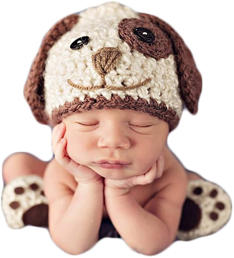 아기 사진 소품 사진 촬영 의상 크로 셰 뜨개질 의상 유아 소년 소녀 니트 강아지 모자 신발