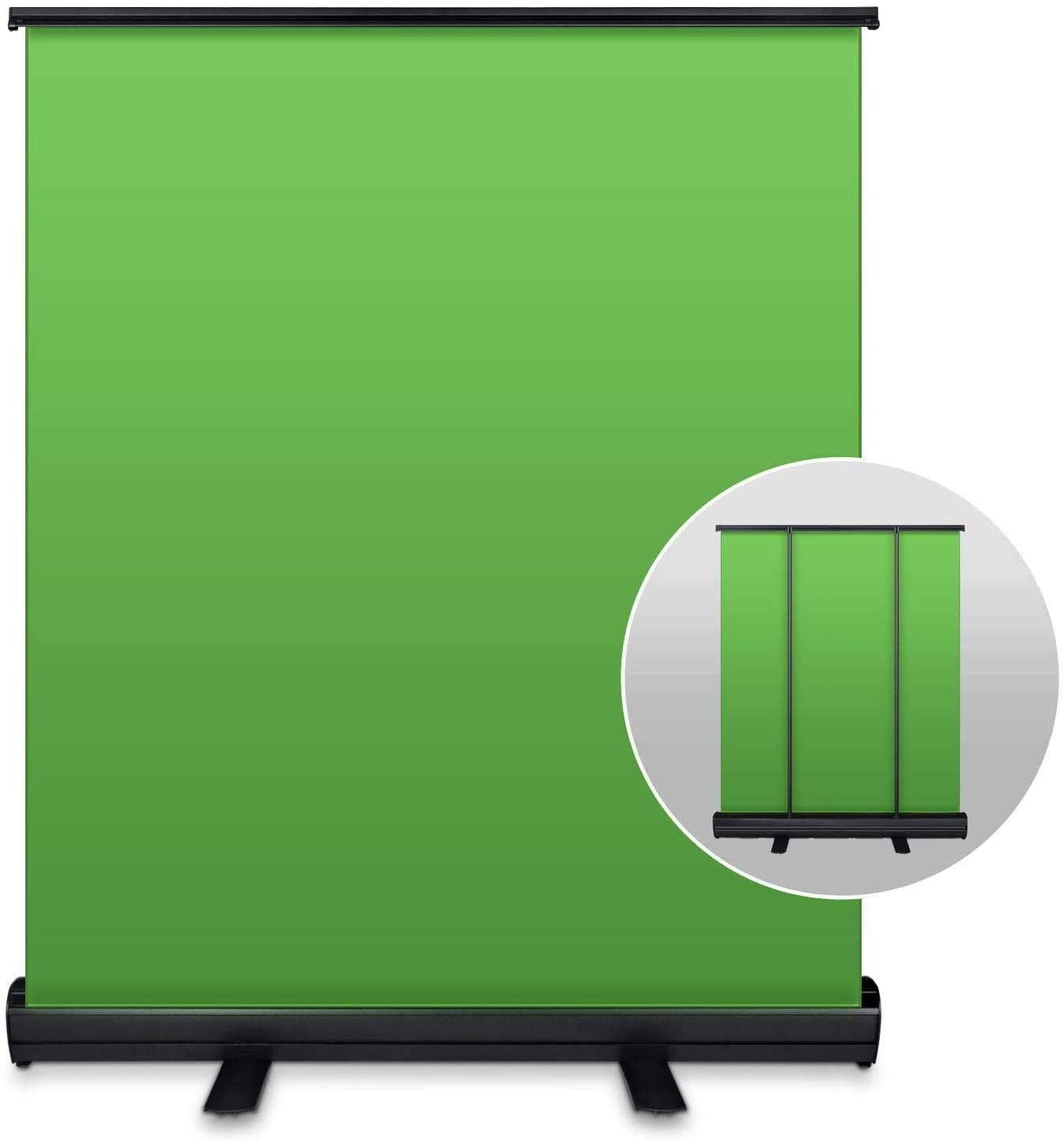 YISITONG 사진 녹색 화면 배경 5 피트 (W) X 6.6 피트 (H) 접이식 크로마 키 패널 배경 휴대용 풀 업 주름 방지 그린 스크린 배경 사진 라이브 게임 TIKTOK 비디오
