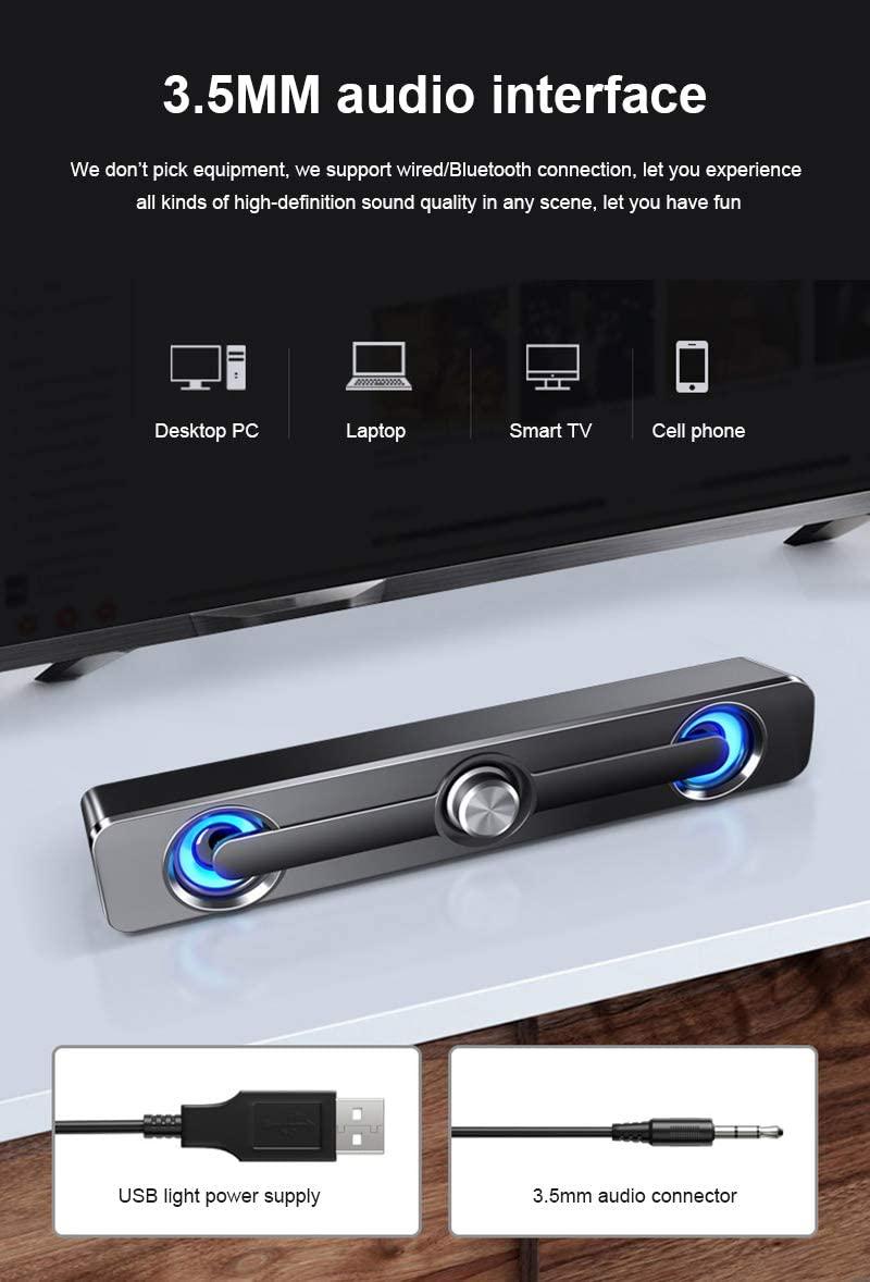 유선 컴퓨터 사운드 바 LED 라이트와 PC 유선 | 무선 사운드 바 PC 데스크탑미니 USB 전원 사운드 바 스피커 노트북 휴대 전화