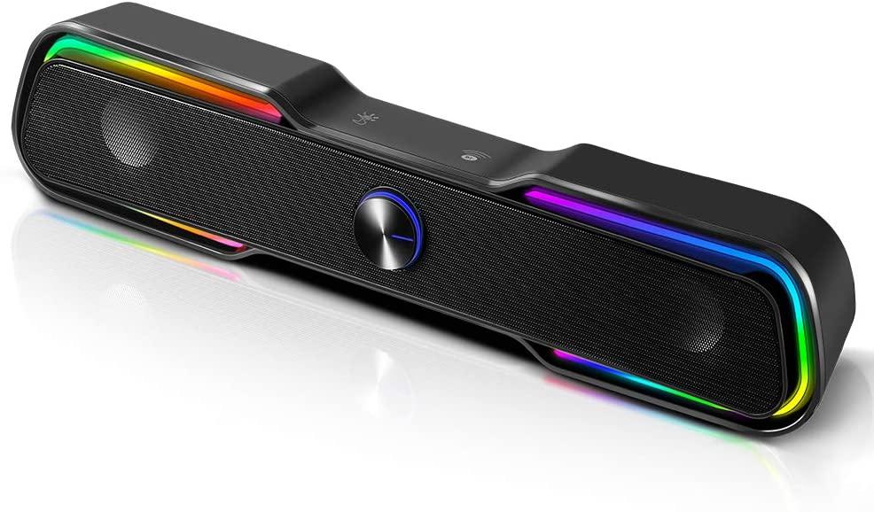 컴퓨터 스피커 ARCHEER PC RGB 게이밍 스피커 유선 컴퓨터 사운드 바 블루투스 5.0 USB 전원 데스크탑 스피커 데스크탑 PC 노트북 태블릿 스마트폰에 대 한 스테레오베이스 LED 라이트 (10W | 블랙)