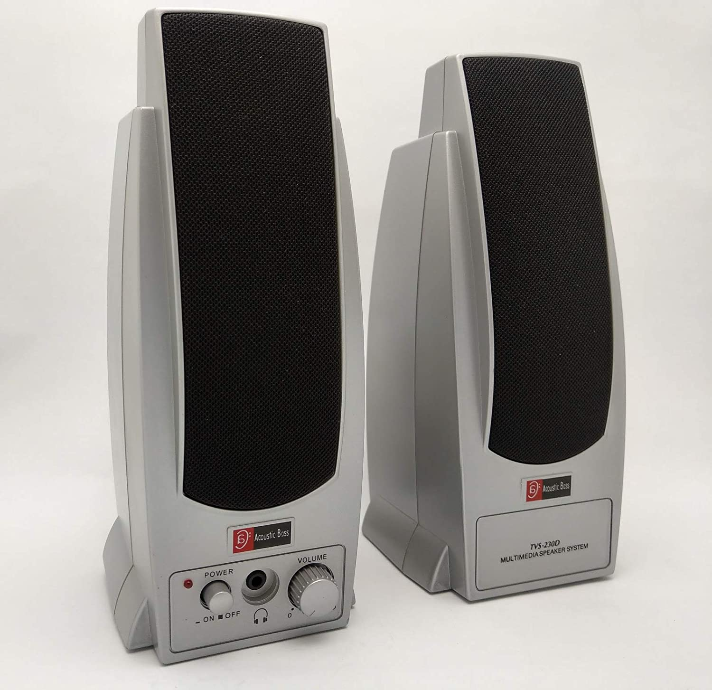 어쿠스틱 베이스 기술 TVS-230D 실버 컴퓨터 멀티미디어 스테레오 증폭 2.0 헤드폰 잭 스피커 시스템
