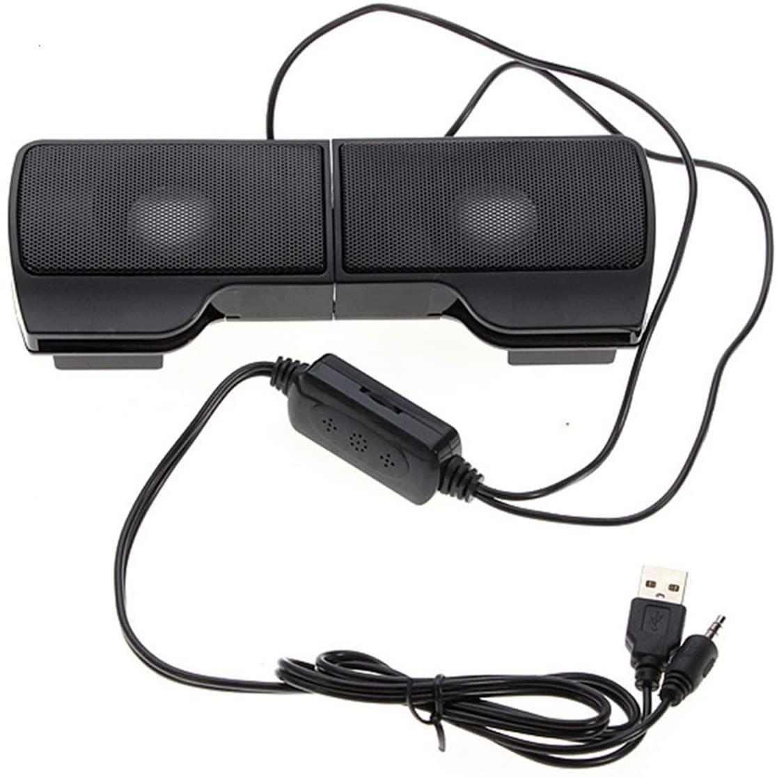 QUEEN.Y 클립 온 스테레오 컴퓨터 스피커 휴대용 사운드 바 PC 노트북 데스크톱 전화 윈도우 휴대용 미니 사운드 바 플러그 및 재생볼륨 제어