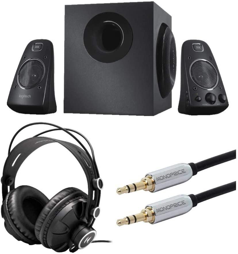 로지텍 Z623 400 와트 홈 스피커 시스템 번들 녹스 기어 헤드폰 및 오디오 케이블 (3 항목)