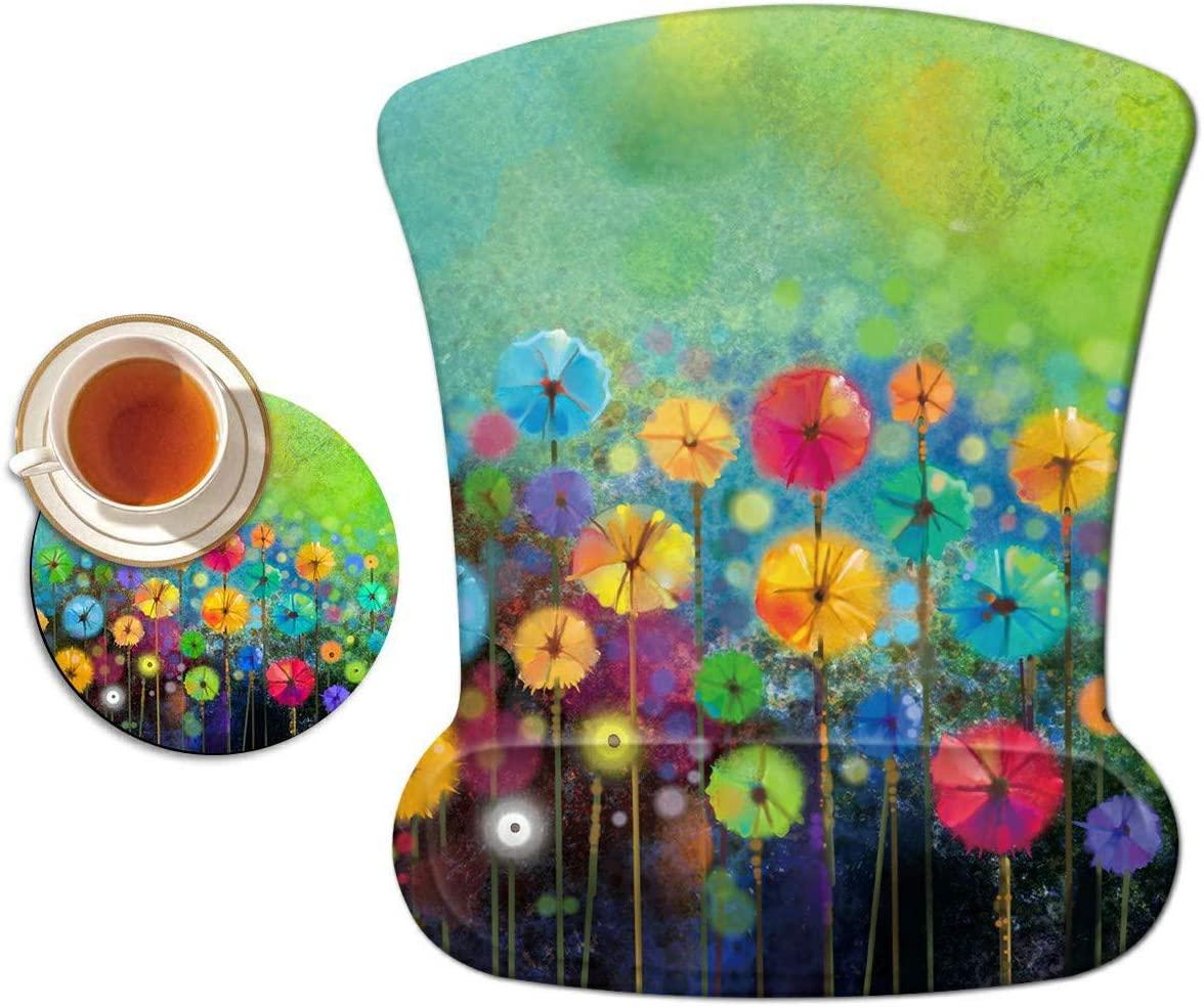 손목 지원 젤 인체 공학 게임 마우스 패드 노트북 컴퓨터 홈 오피스 작업 다채로운 꽃 마우스 매트 + 귀여운 커피 패드