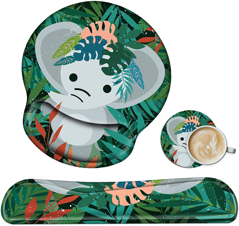 키보드 손목 휴식 및 마우스 손목 휴식 패드 세트 비 슬립 고무 베이스 인체 공학적 젤 손목 휴식 컴퓨터 키보드 게이밍 오피스 작업 메모리 폼으로 만든 아기 코끼리 코스터와 함께