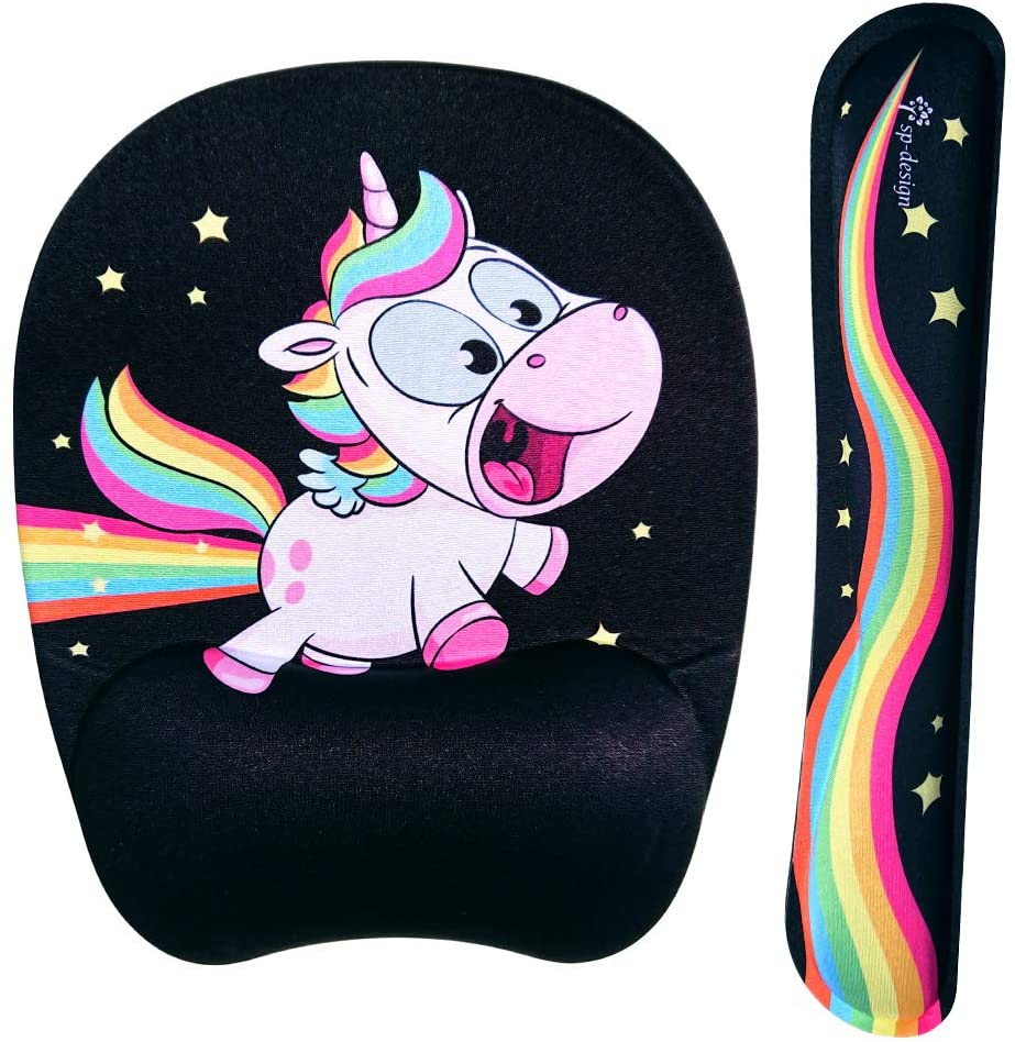 CRAZY FLYING RAINBOW UNICORN WRIST REST SUPPORT FOR KEYBOARD & MOUSE PAD COMBO COMFORTABLE MEMORY FOAM PADDING AND ERGONOMIC DESIGN FOR PC COMPUTER LAPTOP MAC - BRING BACK THE FUN