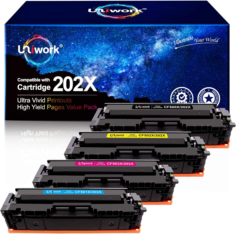 UNIWORK COMPATIBLE TONER CARTRIDGE REPLACEMENT FOR HP 202X 202A CF500X CF500A USE LASERJET PRO MFP M281FDW M281CDW M254DW M281 M281DW M280NW TONER PRINTER (BLACK CYAN MAGENTA YELLOW)