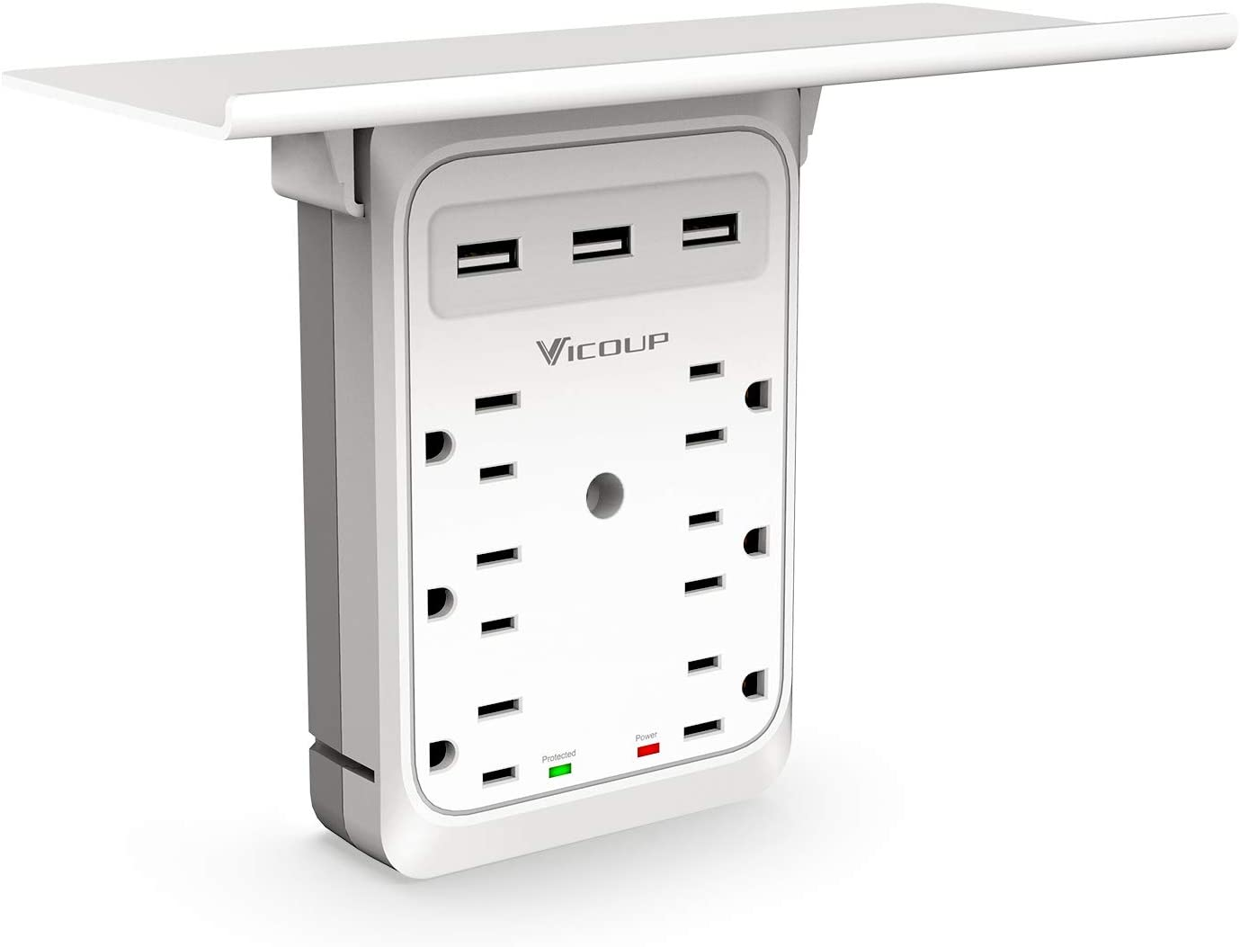 SOCKET OUTLET SHELF VICOUP 9 PORT MULTI PLUG WALL OUTLET SURGE PROTECTOR 1080J 3 USB PORTS (3.4A TOTAL) AND SUPER CONVENIENT SHELF FOR CELL PHONE PLACEMENT - VI168
