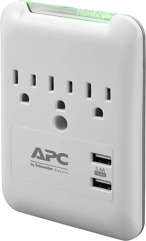 USB 포트가 있는 APC 월 콘센트 서지 보호기 PE3WU3 (3) AC 멀티 플러그 콘센트 540 줄 서지 보호