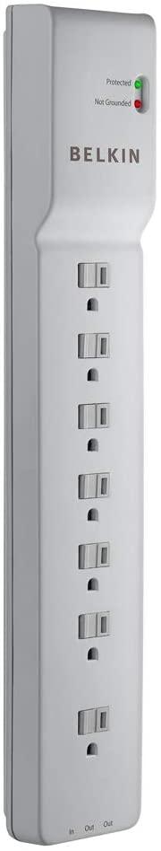 BELKIN 7 콘센트 전원 스트립 서지 보호기 6피트 코드 - 컴퓨터 홈 시어터 가전 제품 사무실 장비 (2 320 줄) 화이트에 이상적입니다