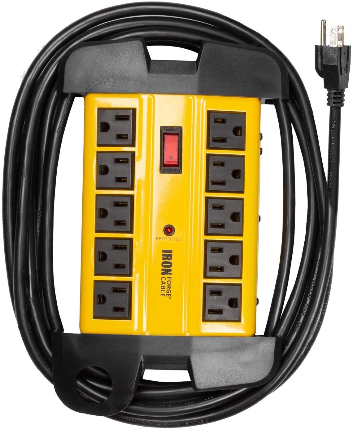 10 콘센트 무거운 의무 서지 보호제 파워 스트립 - 14 | 3 SJT 산업 블랙 과 노란색 금속 서지 억제기 15 피트 긴 확장 코드