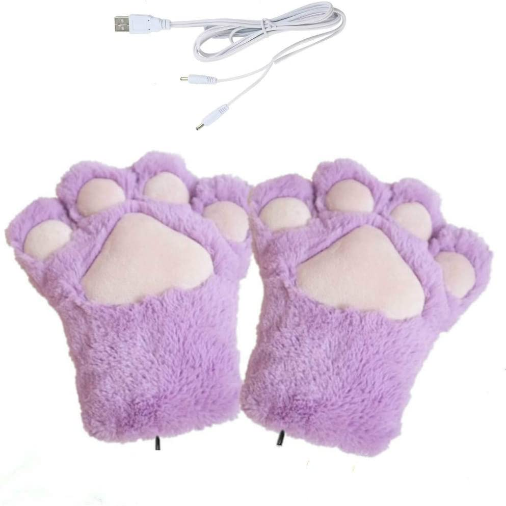 KBINTER USB2.0POWERED 줄무늬 가열 패턴 뜨개질 울 귀여운 가열 발 장갑 FINGERLESS 손이 따뜻한 장갑 노트북 컴퓨터 따뜻한 장갑 여자 남자 여자 남자(보라색)