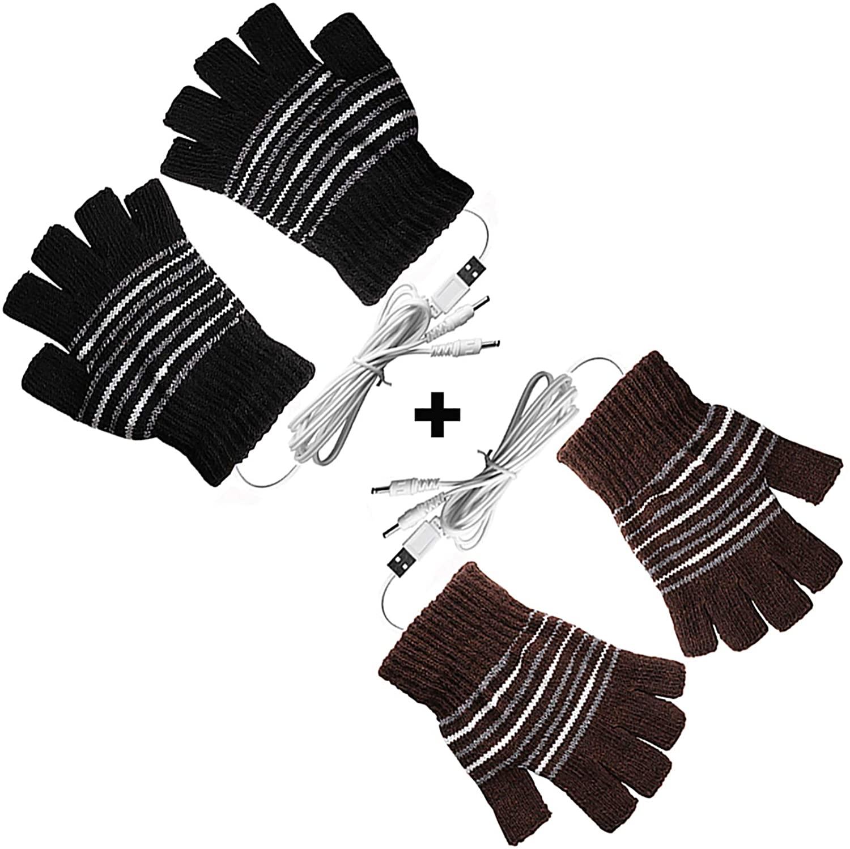 (2 팩)USB 격렬한 장갑을 위한 남자와 여자는 벙어리 장갑 USB2.0POWERED 줄무늬 가열 패턴 뜨개질 울 격렬한 장갑 손이 따뜻한 노트북 FINGERLESS GLOVES 빨 수 있는 디자인을 선물(BROWN+BLACK)