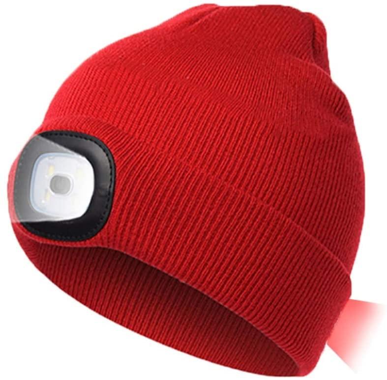 마리타운 LED 라이트 비니 모자 프론트 (화이트) 및 백 (레드) USB 충전식 LED 비니 캡 핸즈 프리 헤드 램프 겨울 니트 비니 모자