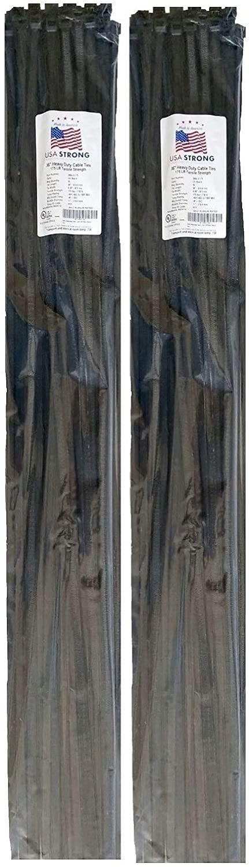 여분의 무거운 의무 케이블 지퍼 타이. 튼튼한 강력한 나일론 덕트 스트랩 175 LB 인장 강도 (36 인치 50 팩 X2 UV 블랙)