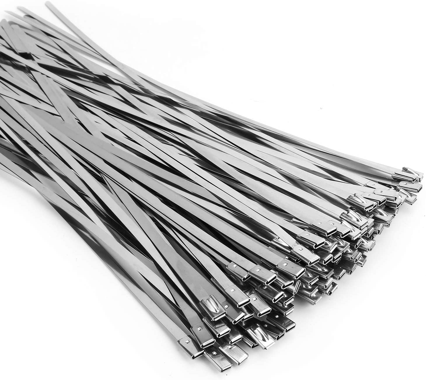 (100PCS 11.8 인치) 금속 케이블 지퍼 타이 304 스테인레스 스틸 다목적 중장비 셀프 잠금 케이블 타이 배기 포장 울타리 야외 및 캐노피 등에 적합