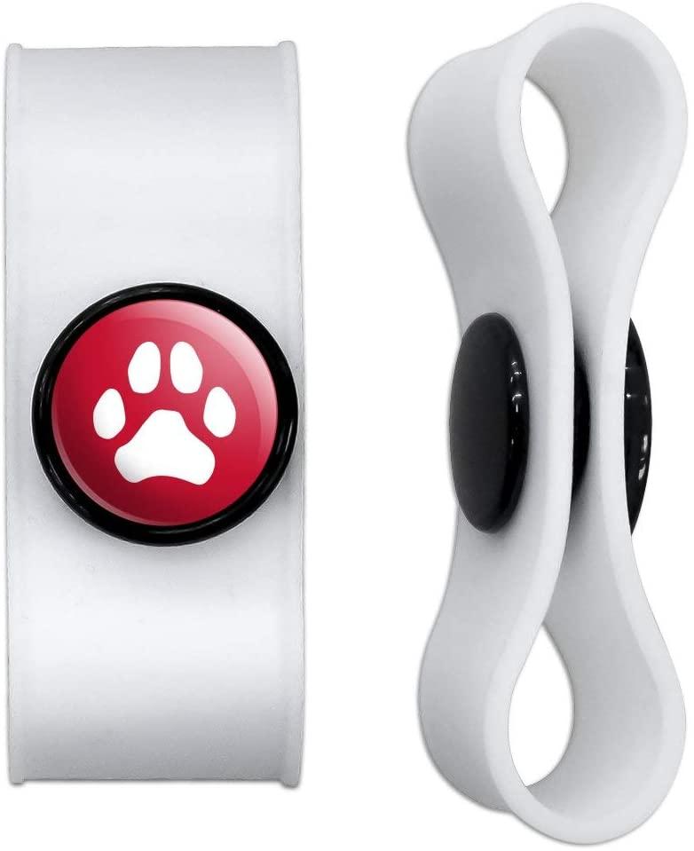 그래픽 및 블랙 헤드폰 이어버드 코드 랩에 더 많은 발 인쇄 개 고양이 고양이 화이트 - 충전 케이블 관리자 - 와이어 주최자 세트 2