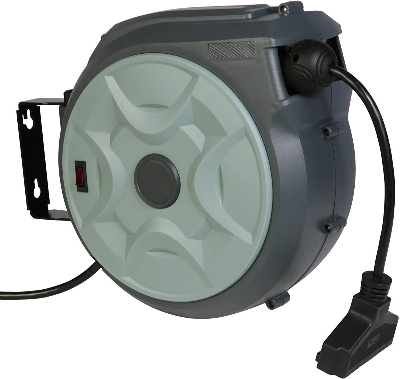 VILOBOS 개폐식 연장 코드 릴 50FT + 3FT 전기 코드 릴 접지 트리플 탭 콘센트 14AWG 3C | SJT 15A 조정 가능한 스토퍼 180 ° 스위블 천장 또는 벽 마운트