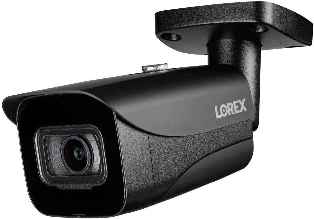 130피트 컬러 야간 시야와 스마트 모션 감지 기능이 있는 LOREX E861ABB 4K 8MP IP 블랙 불릿 카메라