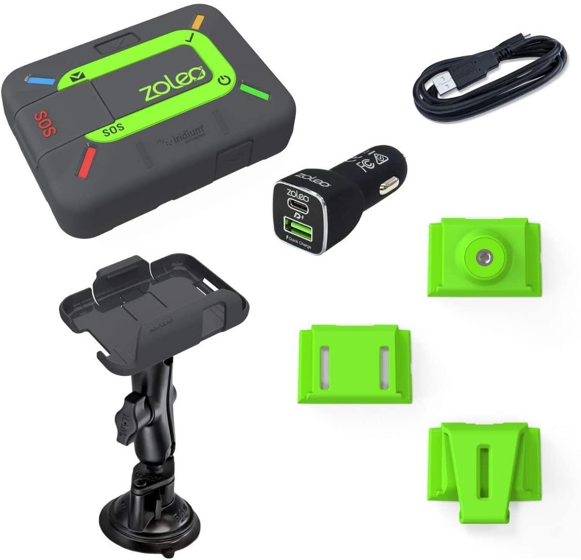ZOLEO 위성 커뮤니케이터 양방향 글로벌 SMS 텍스트 메신저 및 이메일 비상 SOS 경고 체크인 및 GPS 유니버설 마운트 액세서리 키트 ? RAM 마운트 DC 자동차 충전기 USB 케이블 크래들 키트