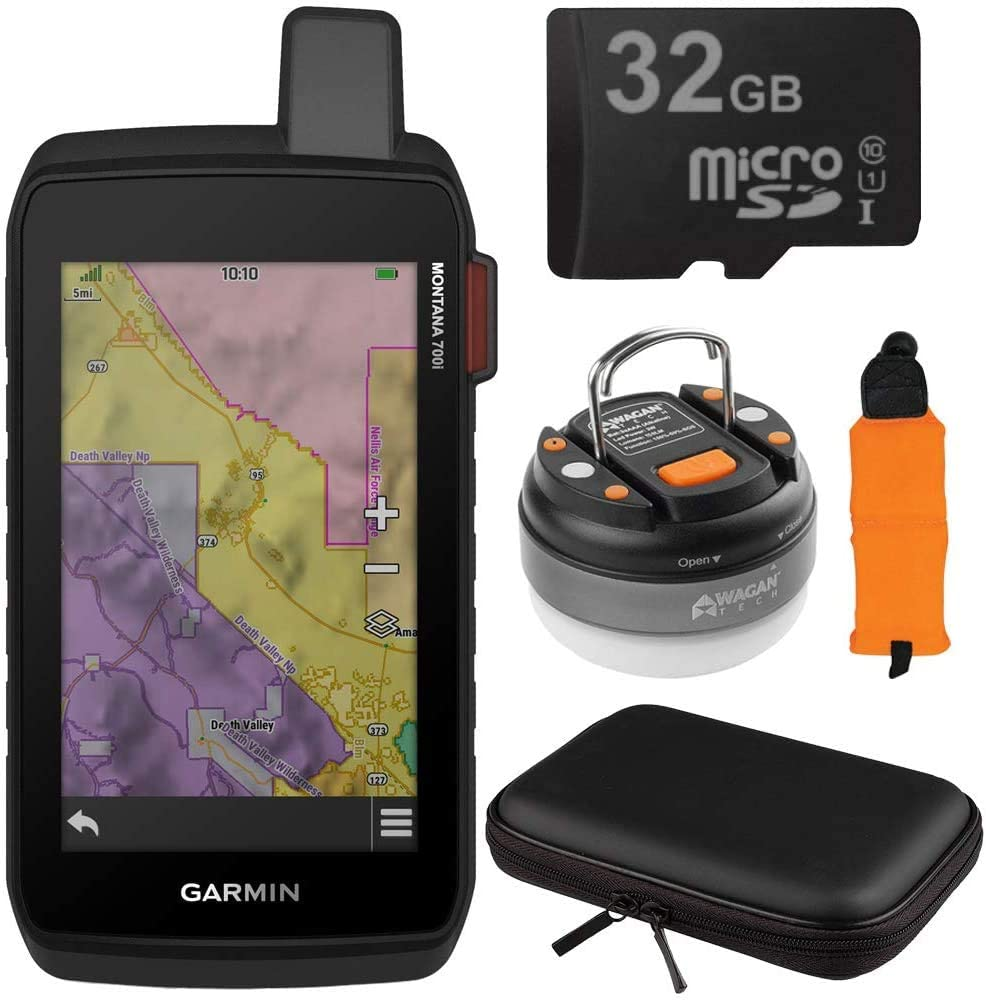 GARMIN 010-02347-10 몬태나 700I 러키 GPS 터치 스크린 네비게이터 와 인리치 번들 플로팅 폼 손목 스트랩 하드 쉘 EVA 10-IN 케이스 LED 브리테 나이트 돔 랜턴 손전등 및 32GB 카드