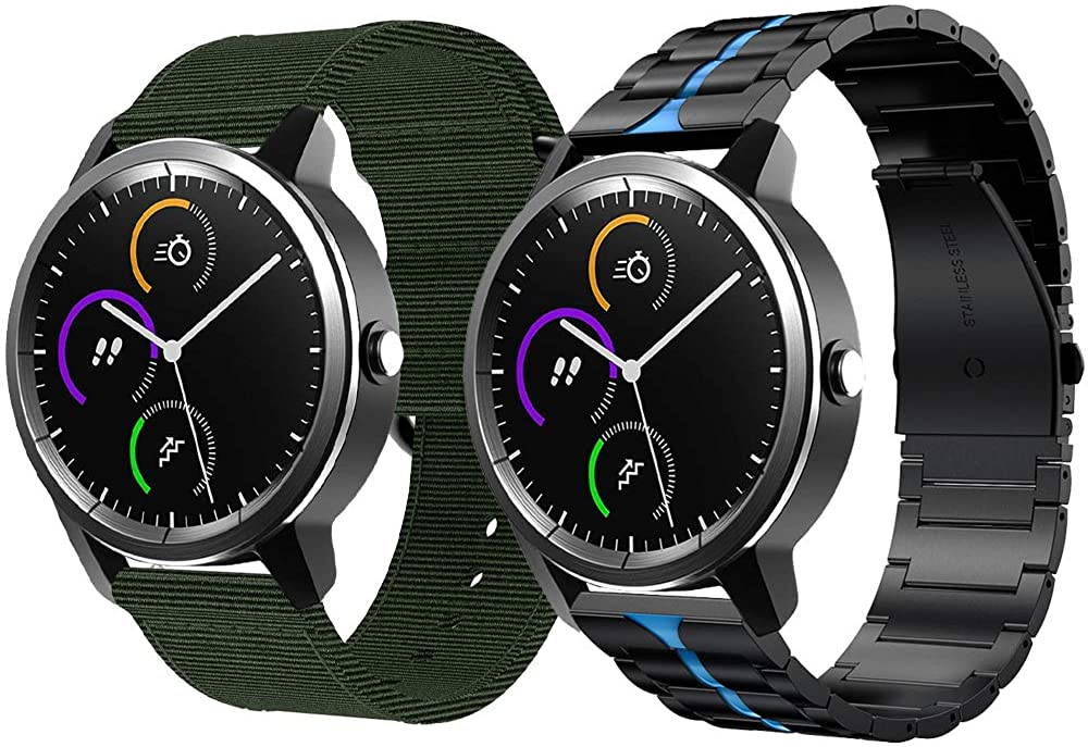 AWMES 2 PACK REPLACEMENT COMPATIBLE FOR VIVOACTIVE 3 WATCH BAND 20MM ENAMEL PROCESS SOLID METAL & NYLON WATCH BANDS FOR GARMIN VIVOACTIVE 3BANDS FOR GARMIN VIVOACTIVE 3 MUSIC | FORERUNNER 645 | 245 SMARTWATCH