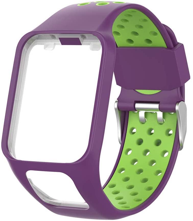 NA. 뉴스아웃터리 워치 밴드 손목 스트랩 톰톰 러너 2 3 스파크 3 GPS 시계 피트니스 트래커용 투톤 실리콘 교체 손목 밴드 시계 스트랩
