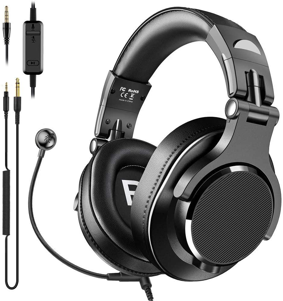 마이크와 BOPMEN 컴퓨터 헤드셋 - 붐 마이크와 유선 게임 헤드폰 온라인 볼륨 제어 및 사무실 PC 노트북 전화 전화 PS4 X 박스 하나 DJ에 대한 귀 헤드셋을 통해 공유 포트